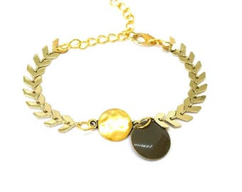 """taupe/gray sequin enameled"" Golden Spike chain bracelet"