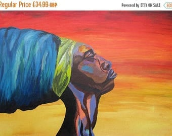 ON SALE African Painting - Nubian Queen