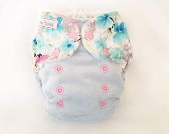 MCN Modern Cloth Nappy - Pastel Blue Floral