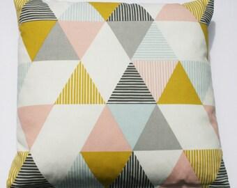 Handmade Scandinavian style geometric print cushion in grey, pink and mustard