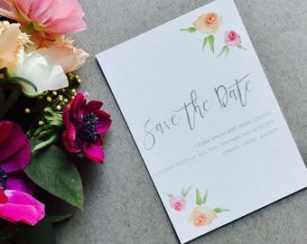 Rustic Floral Save the Date - Spring Save the Date - Peach Pink Grey - Wedding Save the Date Card