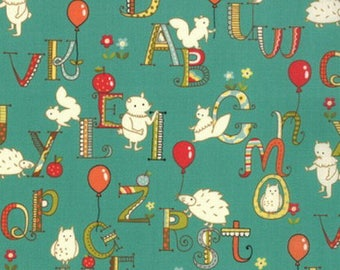 Turquoise kids patchwork alphabet with animals by MODA fabric
