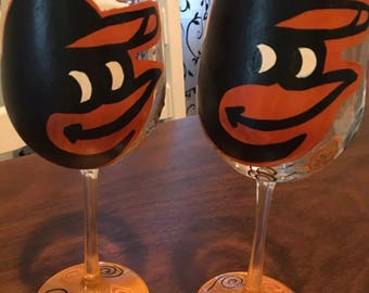Set of Two-Baltimore Orioles Wine Glasses