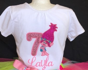 Trolls Poppy Birthday outfit/Trolls Poppy Birthday tutu/ Poppy Birtday Top/Trolls Poppy 3pc Birthday tutu