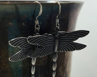 Antique Silver Plate Raised Wing Dragonfly
