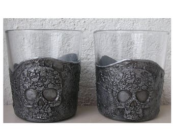 Set of 2 skull whiskey glasses Halloween gift Day of the Dead Gothic glasses Pirates