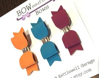 mini hair bow trio suedette