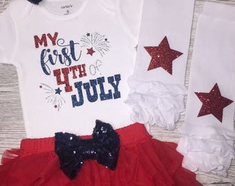 My First 4th Of July Outfit Girl | July 4th Baby Girl Outfit | Patriotic Outfit | Baby Girl Clothing | 1st 4th of July | Independence Day