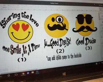 Share The Love, Aw...Good Sir, Cool Dude, Mustache, Hearts, Smiley Face - 3 Separate Choices - All Are Adorable!