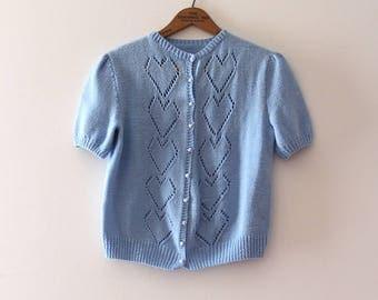 vintage heart sweater // 90s hand knit short sleeve heart sweater