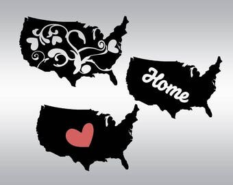 United states svg, Usa svg, States svg, SVG Files, Patriotic svg, Home svg, Cricut, Cameo, Cut file, Files, Clipart, Svg, DXF, Png, Pdf, Eps