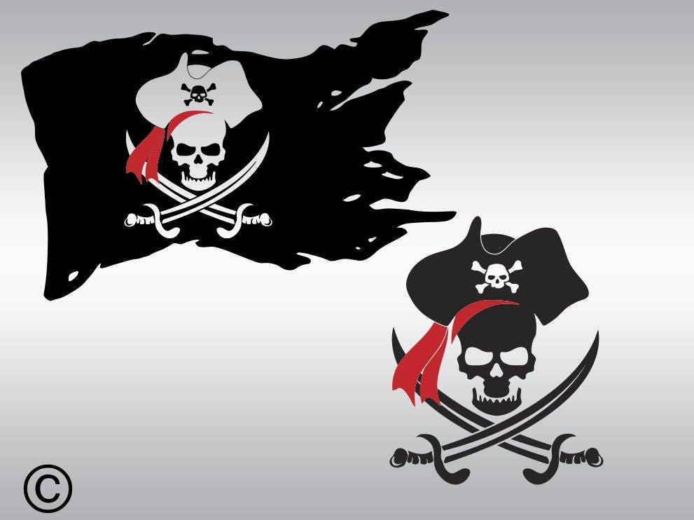 pirate skull flag SVG Clipart Cut Files Silhouette Cameo Svg