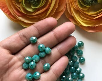 35 pcs Shiny Green Crystal beads, 8mm Opaque Crystal shiny green beads, Feceted Green beads, Wholesale beads, Feceted crystal rondelles