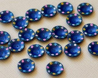 Blue Plastic Buttons with Painted Flowers