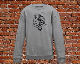 Puppy sweater, pug sweater, pug tattoo, dog lover gift, classic tattoo art, dog shirt, tattoo shirt, hipster gift, gift for tattoo lovers