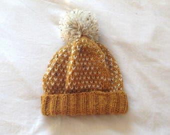 Knit Beanie Hat in Mustard Yellow // Winter Hat with Pom Pom