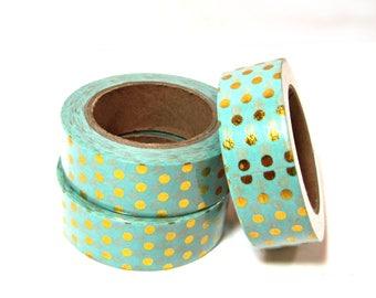 Washi Tape - Decorative Tape - Paper Tape - Planner Tape - Foil Washi Tape - Gold Dots Aqua Washi - Deco Paper Tape - Planner Washi Tape
