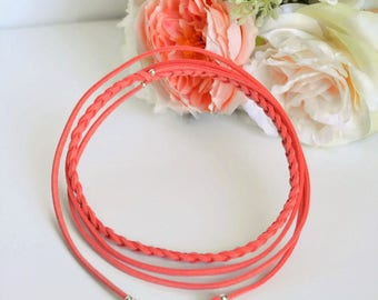 Braided Choker, minimalist, coral, suede, necklace, Bracelet, headband, silver beads, charm stainless steel - Vegan