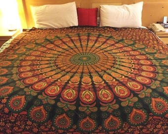 Indian mandala tapestry,Mandala bedding,Mandala wall decor,Queen Mandala tapestry,Bohemian tapestry,Boho wall decor,Bohemian tapestries
