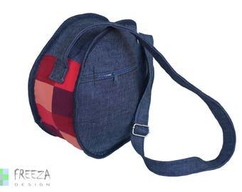 Crossbody jeans bag, denim bag, eco friendly, upcycled,  blue jeans, colorful, handmade