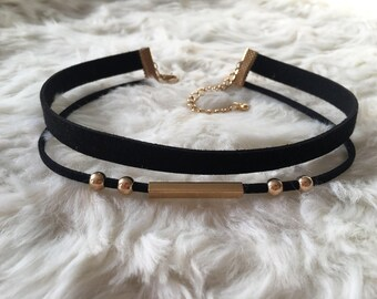 Double suede rope choker with gold accent pieces