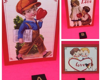 Cute valentines cards small valentines gift cards gift tags love cards retro kitsch Victorian red hearts sweet love for someone special