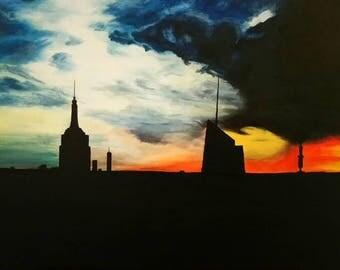 New York Sunset, Canvas, Acrylic, Empire state building, America, original artwork, Artbyshakespeare