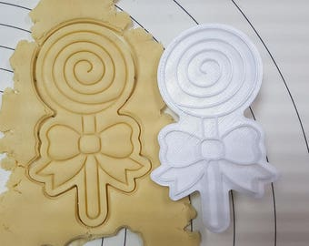 Lollipop Spiral( Single) Cookie Cutter and Stamp