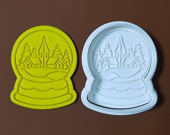 Snow Globe - Christmas Village Cookie Cutter and Stamp