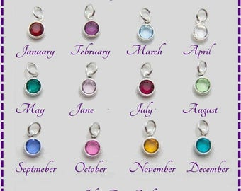 Crystal Birthstone Charms, 1pc, Silver Plated Charms, Jewellery Making, Craft Supplies, Findings, Charms For Bracelets, Charms For Necklaces