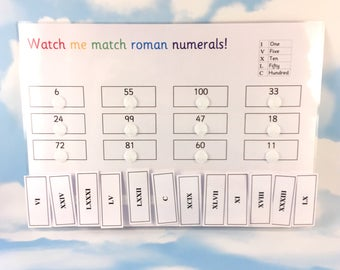 Roman numerals learning sheet, KS2, Matching game, maths aid, numeracy, Visual learner, removable pieces, velcro matching, homework resource