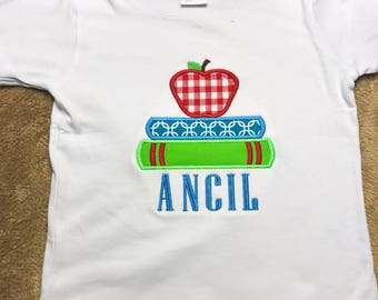 Books and Apple Applique Shirt - Boy and Girl Option - Back to School Shirt - Personalized Shirt