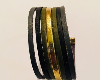 Bracelet leather and suede for a handmade grey and khaki