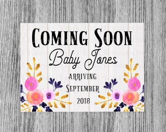 Digital Download Baby announcment floral personalized printable