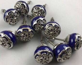 Set 10 Royal Blue and silver metal filigree ceramic knobs -  Ceramic Home decor drawer pull