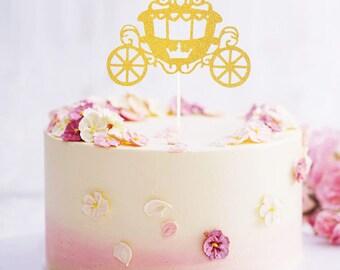 "Grand ""Pumpkin Carriage"" Cake Topper Bridal shower Centerpiece Girls birthday Wedding party reception decoration Engagement Cinderella theme"