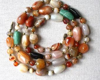 Vintage Agate Beggar Beads Necklace 1970s Era