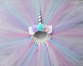 Unicorn Headband and Tutu Set - Pink, Purple, Ivory & Teal Tutu - Silver Unicorn Horn- Birthday Outfit