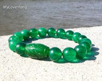 Green Jade Bracelet/Good Luck Bracelet/Green Bracelet/Good Health and Prosperity/Feng Shui/Successes Bracelet/Men & Women Nephrite Bracelet