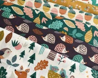 Harvest Wood Fabric Bundle - Dashwood Studio - Woodland Fabric - Squirrels Hedgehogs Fox Bear - Quilting Fabric Bundle - Wendy Kendalls