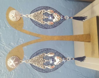 Midnight blue and silver dangling earrings