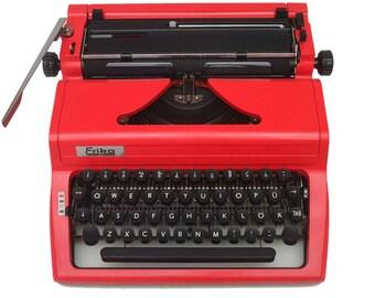 Red Typewriter Erika - Working Perfectly - Custom Painted - Fully Serviced - Vintage Typewriter