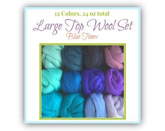 Blue Merino Felting Wool - 12 Blue Shades of South American Merino Wool Top, Roving for Spinning (2 oz each / 24 oz Total) Large Wool Set