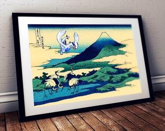 Estampe japonaise Hokusai avec LUGIA Pokemon légendaire / Art geek et pop pour chambre d'enfant