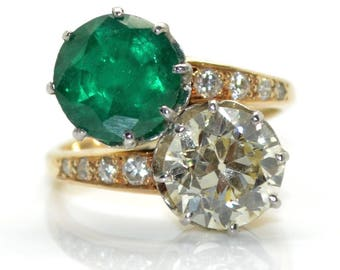 You and me, diamond and emerald ring