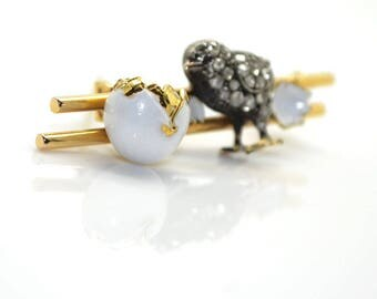 Brooch vintage Chick, gold, silver and enamel