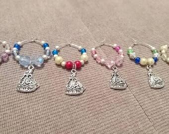 Set of 6 Disney Princess wine glass charms