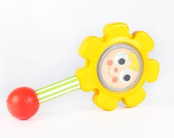 Vintage Fisher Price baby toys-Flower Rattle-1973