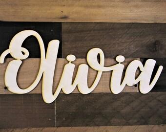 Wood Name Cutout, Cursive Name Sign, Name Cutout, Custom Name Cutout, Wood cutout, Word Sign, Cursive Word Sign, wooden word cutout