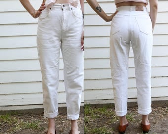 Vintage White Liz Wear High Waisted Denim // High Waisted White Skinny Jeans